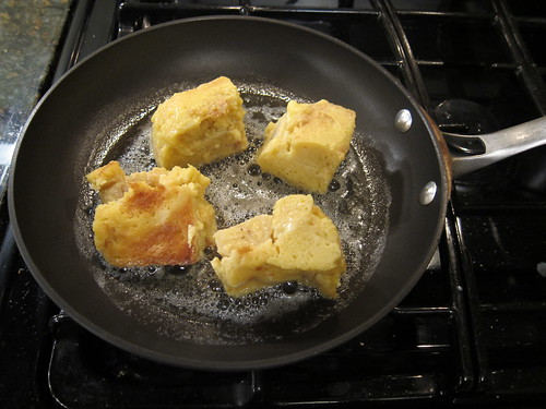 Frying up the Banana Bread Pudding