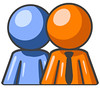 Clipart Illustration of a Blue Person Standing Beside An Orange Businessman, Symbolizing Teamwork Or Mentoring (simplesolutiontech07) Tags: boss blue people man men businessman person business management concept manager bosses partnership partner mentor employee partners employees teamwork concepts businessmen blueman businesspeople managers orangepeople orangemen mentoring blueperson bluemen orangeman bluepeople businessperson businessconcept businessconcepts orangeperson