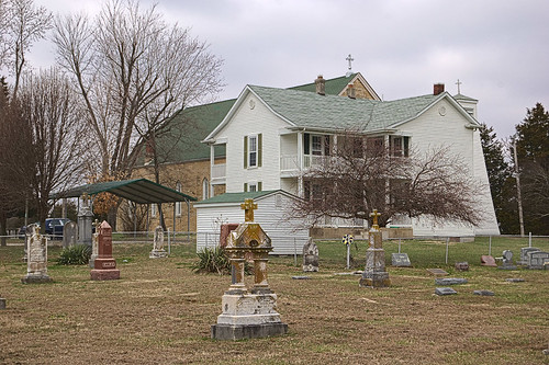 Saint Patrick Roman Catholic Mission, in Armagh, Missouri, USA - rectory and cemetery