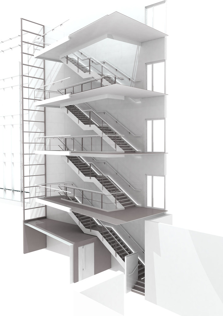 3D model of main stair at Tottenham Court Road