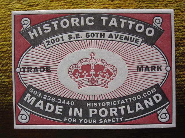 Historic Tattoo business card. Matchbox inspired business cards