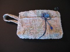 Raggy Clutch Bag with Blue Bud (J L Norberg) Tags: fabric purse clutch fiber applique stitched raggy couched rawedge art2carry
