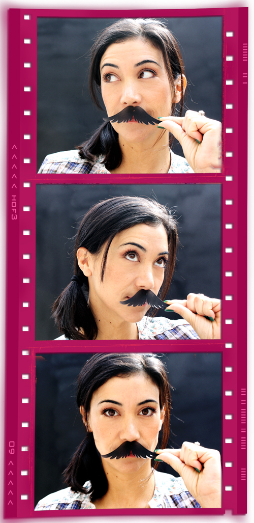 Pink Ninja Addicts Gloria Mustache Collage