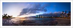 Ala Moana Beach Park Panorama (Rex Maximilian) Tags: ocean sunset panorama sun boats hawaii twilight stitch waikiki oahu tropical tropic honolulu 617 alamoanabeachpark 176 17x6