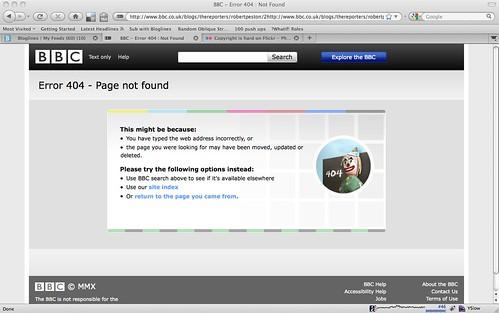 BBC 404 error screen