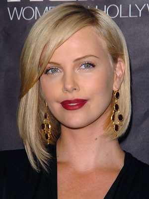 blonde hairstyles with side fringe. Charlize_Theron Side bangs bob