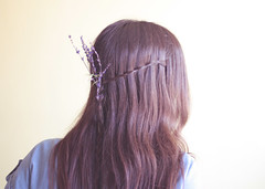 lavender (martukh) Tags: barcelona flowers light summer woman me girl beauty shirt canon hair eos spring warm soft f14 longhair lavender hairdo highlights mel jeans honey marta brunette canoneos braid terrassa sooc 1000d
