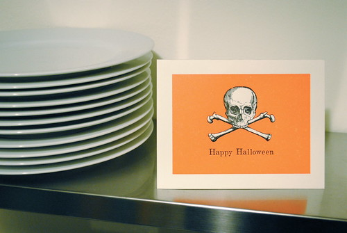 Dishes with Halloween Greeting Card