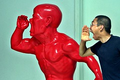Shouting at 798 (RobertDouglas) Tags: portrait sculpture asia posing scream orient 798 fareast shouting shout chineseart redsculpture beijingart 798artdistrict beijingchinachinese