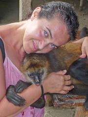 Cuddly pet monkey