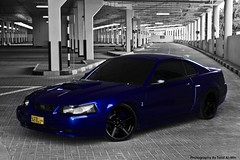 (Talal Al-Mtn) Tags: street blue white black cars ford car photography hp cobra parking gray gear automotive turbo chip kuwait manual lcd rims fordmustang charge v8 kn comp exhaust bbk horsepower intake svt saleen msd stang bluehorse flowmaster automoblie fordmustanggt canon450d xpipe supecharged  talalalmtn  lowerkit procharge bytalalalmtn