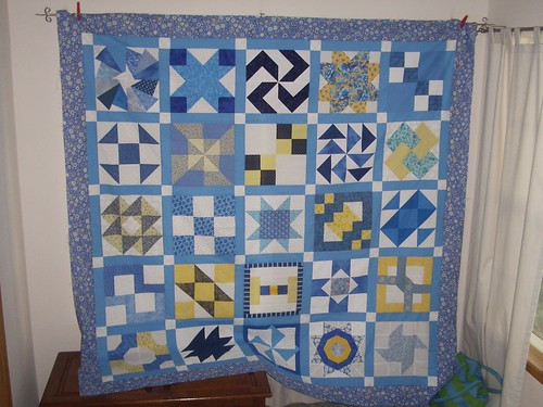 Blue White Yellow Block Swap Top - Unquilted