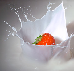 Strawberry splash in milk (david.kittos) Tags: red white macro green fruit milk strawberry droplet splash highspeed highspeedphotography hsp zd sb28 highspeedflash 50mmmacro20 strobist nikonsb28 stopshot cognisys