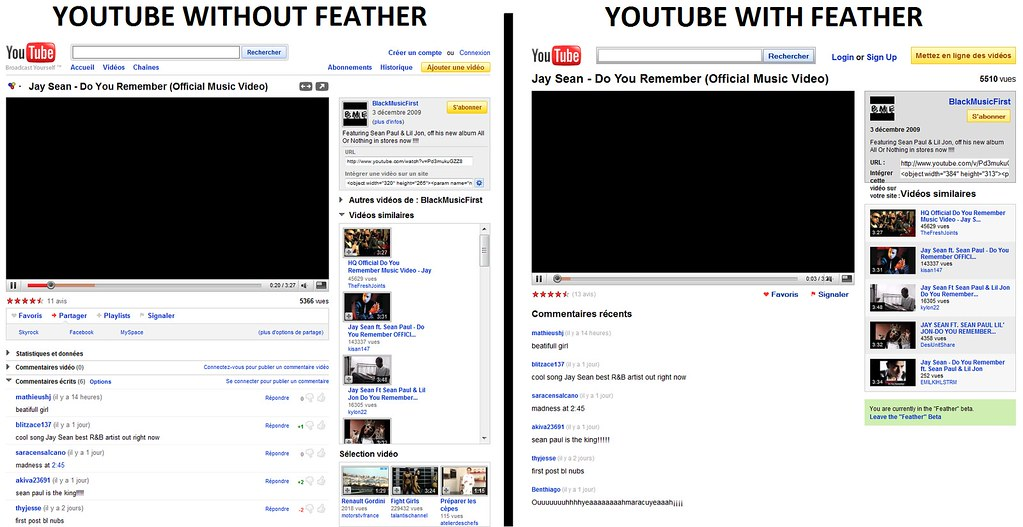 Youtube with Feather and Without Feather