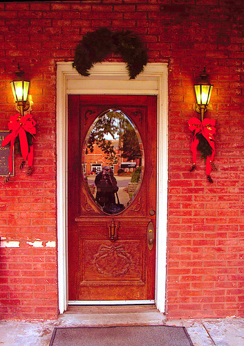 Avalon Hall's Front Door at Christmas
