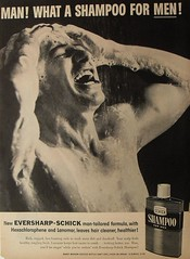 1950s men's shampoo advertisement vintage shirtless man shower suds (Christian Montone) Tags: shirtless man men shampoo grooming schick vintageadvertisement healthandbeauty