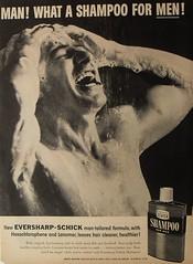 1950s men's shampoo advertisement vintage shirtless man shower suds (Christian Montone) Tags: shirtless man men shampoo grooming schick vintageadvertisement healthandbeauty
