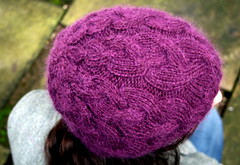 04 Cabled Beret (pointypointysticks) Tags: classic hat kid knitting purple knit cable mohair debbie knitted bliss rowan beret debbiebliss kidclassic cabled