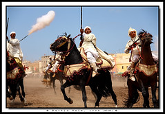 War Game - Jeu de guerre (Rachid Naim) Tags: africa sky horses black men race canon cheval fire eos noir arms traditions folklore bleu ciel morocco maroc guns safi steed blanc stallion feu hommes barbes chevaux afrique  kiss2 armes arabs  awesomeshot  jellaba galop arabes fusils asfi  450d talon