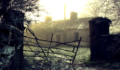 Deserted House (Mindful Youth) Tags: old blue winter sky sun house mist snow cold tree ice beautiful field grass silhouette yellow fog by clouds composition landscape countryside gate december ditch farm background hill entrance freezing gone photograph hedge chilly times derelict atmospheric foreground countrylandscapes