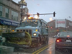 A City of Chicago Department of Streets and Sanitation snowplow truck heading southbound on North Clark Street. Chicago Illinois. December 2006.