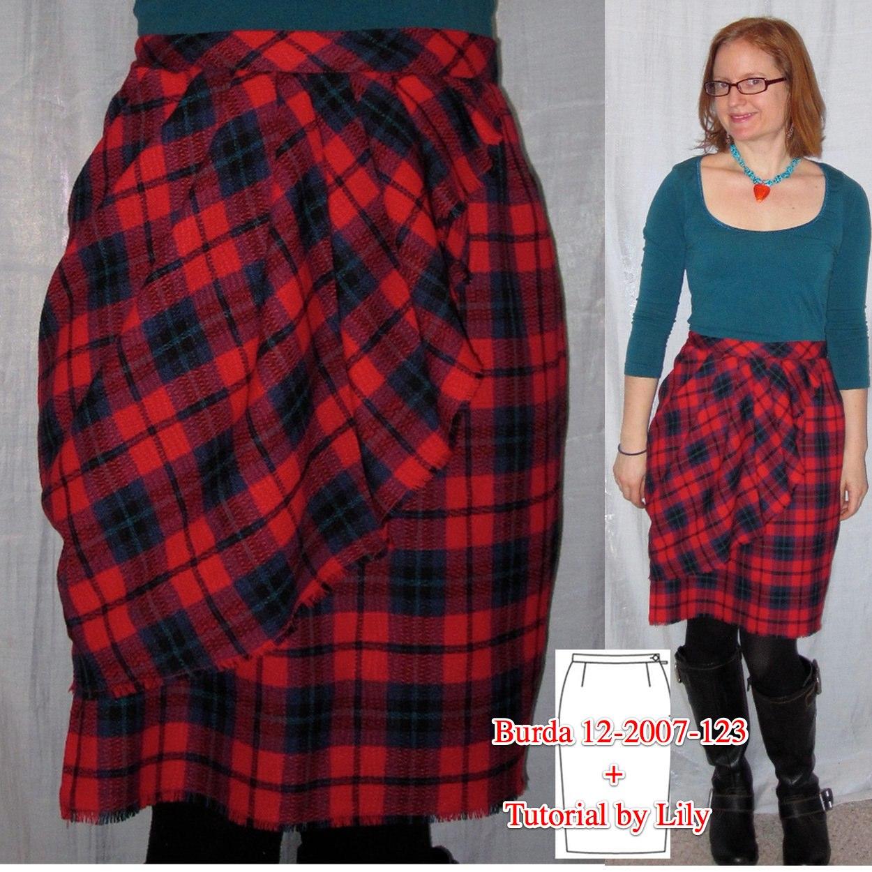 Burda 12-2007-123 Red Tartan Ruffle Skirt Thumbnail