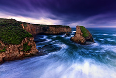 """Sunrise"" blues - Shark Fin Cove - Davenport, CA (Jeff Swanson -- www.interfacingnature.com) Tags: ocean california blue water sunrise coast pacific predawn seastack nikond200 sigma1020mmf456exdchsm graduatedneutraldensityfilter davenportca sharkfincove hoyahdcircularpolarizer"