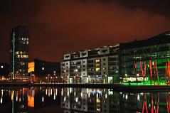Grand Canal Basin (Edge07) Tags: dublin reflection night 35mm lens landscape canal nikon grand basin d5000