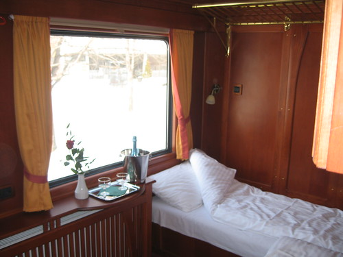 European heritage train for charters - premium sleeping compartment, night layout