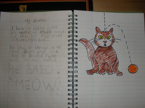 H's poem - I helped with the cat drawing