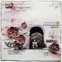 Miejsce przeznaczenia - Destination (finnabair) Tags: pink flowers houses bw white house mist black clock girl scrapbooking layout colorful paint purple handmade lace mixedmedia buttons grunge stamp journey destination romantic prima glimmer inks sewn stiching rubons szyte
