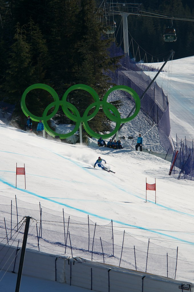 Skiier on the Super G