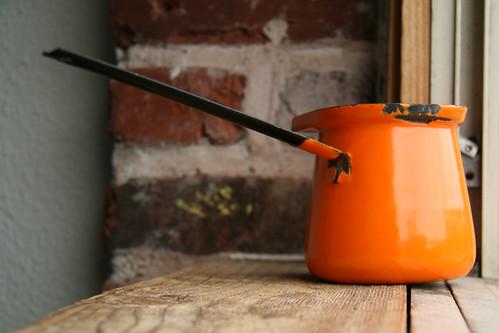 Enamelware Turkish Coffeepot - Orange