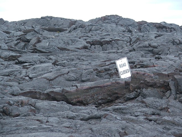 2003 lava flows covering road