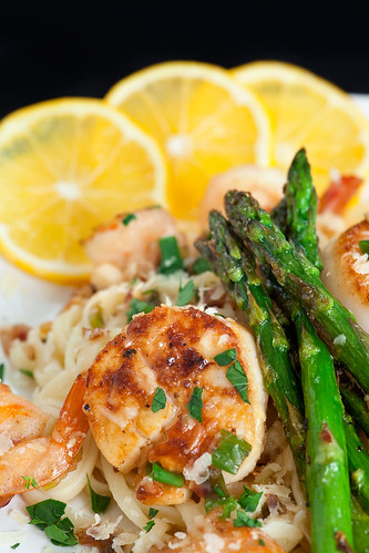 Scallop and Shrimp Scampi on Linguine