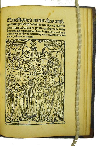 Title-page with woodcut illustration from Quaestiones naturales antiquorum philosophorum