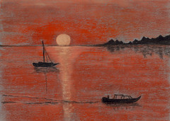 red seascape at sunset
