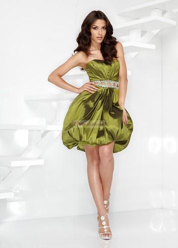 Ball Gown strapless cummerbund taffeta short green prom dress by anyi2005.