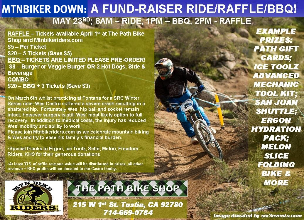 Our Sunday Bike Ride Crossed Path Of >> MtnBiker down: A Fund Raiser Ride, Raffle and BBQ, Sunday May 23rd   MtnBikeRiders.com