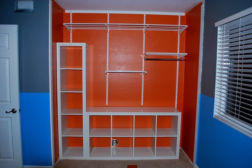 Orange Closet with IKEA Expedit and Container Store Elfa System