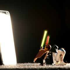 iPod touch meets Lego Starwars (chadveePhotos) Tags: camera 2001 light macro studio actionfigure rebel lights glow ipod small r2d2 lightsaber wars liveview legostar