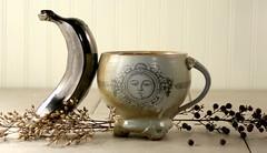 etFree Pewter Banana with Mug (mudstuffing) Tags: sculpture woman cup motif girl face lady ceramic design eyes stencil hand handmade made bust mug pottery decal etsy tumbler