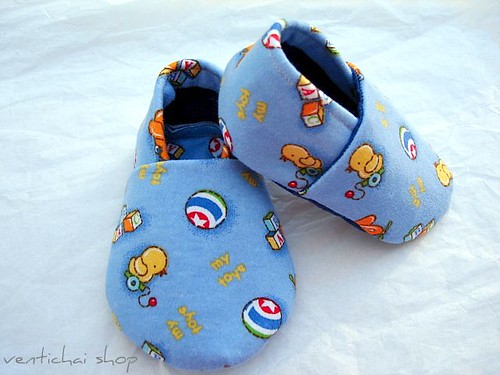 My Toys And Ducky Crib Shoes Booties Baby Slippers with Denim Bottom