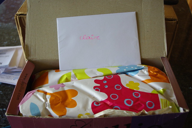 brightly colored gift wrap for claire