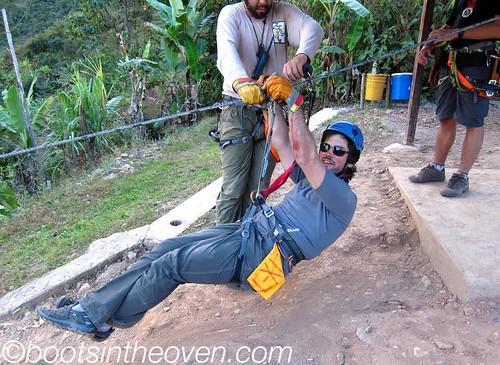 Logan exhibits perfect zipline form