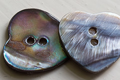 Heart-Shaped Buttons (alison's daily photo) Tags: macromondays macro heart heartshaped buttons motherofpearl 117picturesin2017 decorative 84