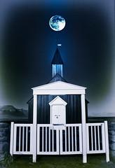 A Place of Peace (D'ArcyG) Tags: iceland budir blackchurch church whitechurch gates fence moon fullmoon night peace blackandwhite surreal impression