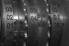 It's an enigma (lenswrangler) Tags: lenswrangler digikam enigma cryptography crypto numbers macromondays worldwarii cipher nsa rsa encryption rotor germany military wheel metal machine nationalsecurityadministration spook bw monochrome blackandwhite ilford secret code