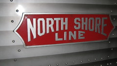 Chicago, North Shore & Milwaukee interurban railroad logo on a preserved Silverliner M.U car. The Illinois Railway Museum. Union Illinois. Friday, July 3rd 2009.