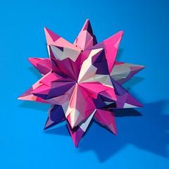 Pink Star (! Polyhedra !) Tags: art geometric paper star origami geometry craft math papiroflexia tornillo papermodel polyhedra foldedpaper modularorigami matemáticas kusudama geometría unitorigami bascetta bascettastar módulotornillo